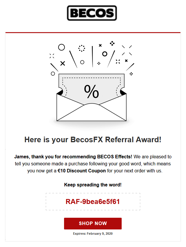 Referral Award Email Sample