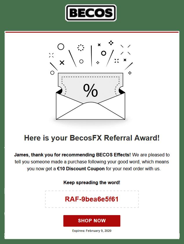 Referral Award Email Sample