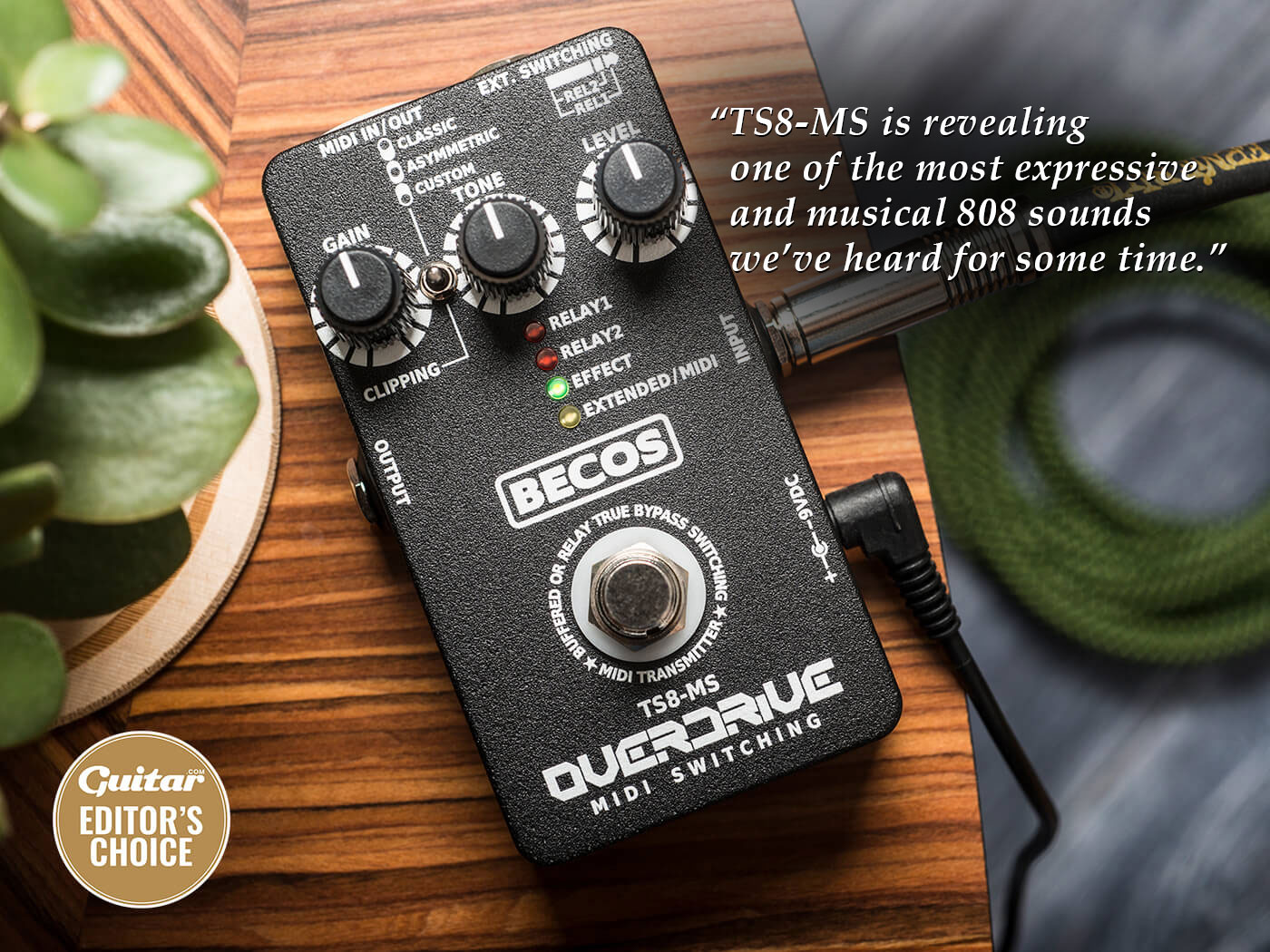 Becos TS8-MS in Guitar Magazine: With all the knobs at noon and the classic voice engaged we kickstart the TS8-MS, revealing one of the most expressive and musical 808 sounds we've heard for some time.