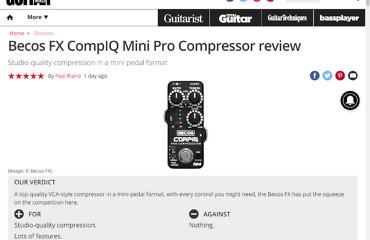 CompIQ MINI Pro Compressor Pedal Reviewed by Guitar World Magazine